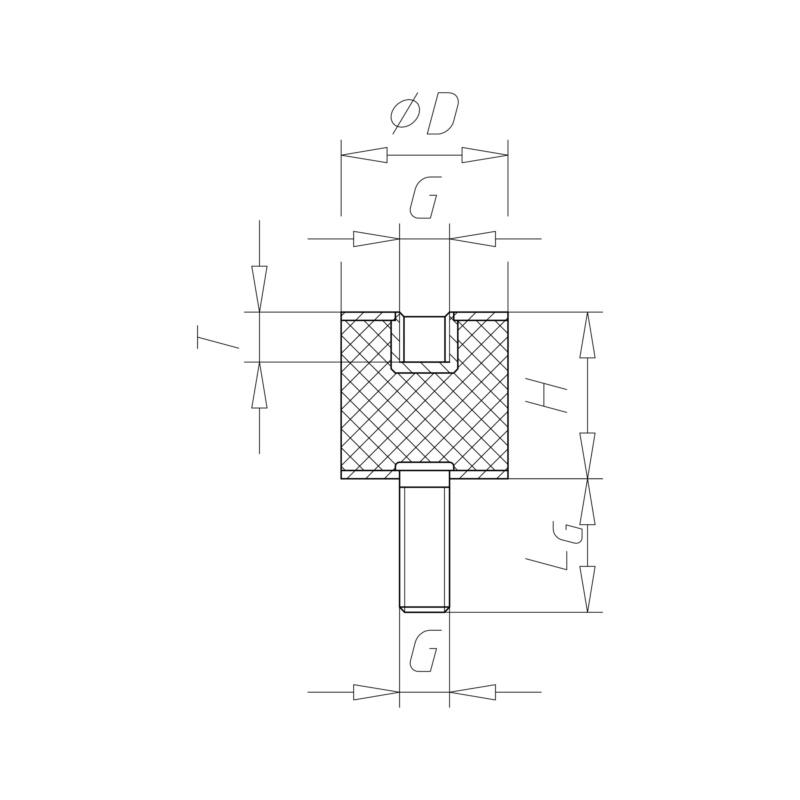 橡胶-金属缓冲块,B 型 - 弹垫RBRMETPAD-B-20X20-M6