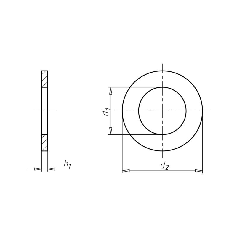 """六角头螺栓和螺母适用的平垫圈 - """"平垫-DIN125-B-140HV-蓝白锌A2K-D25,0"""""""
