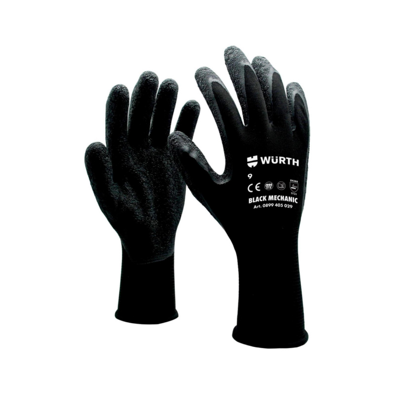 防護手套 技工用,黑色 - 機工手套-黑色-8號