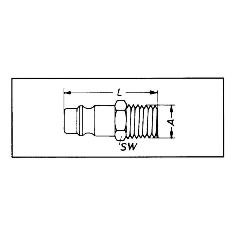 插入式管接头 - 快换接头-外螺纹-黄铜-1/2英寸