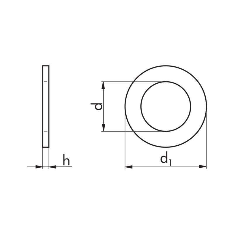 """六角头螺栓和螺母适用的平垫圈 - """"平垫-DIN125-B-140HV-蓝白锌A2K-D10,5"""""""