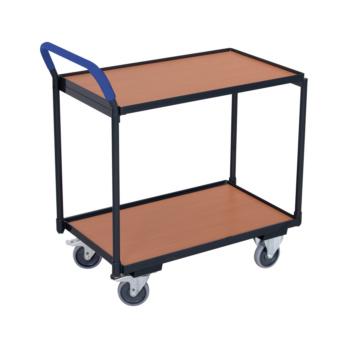 Tischwagen Ladefläche 850x500 mm mit 2 Böden, Griff hochstehend