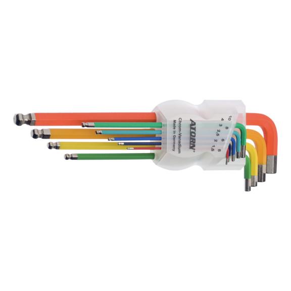 ATORN hatszög imbuszkulcs készlet, 9 részes, 1,5–10 mm, gömbfejű, színes - Imbuszkulcs készlet