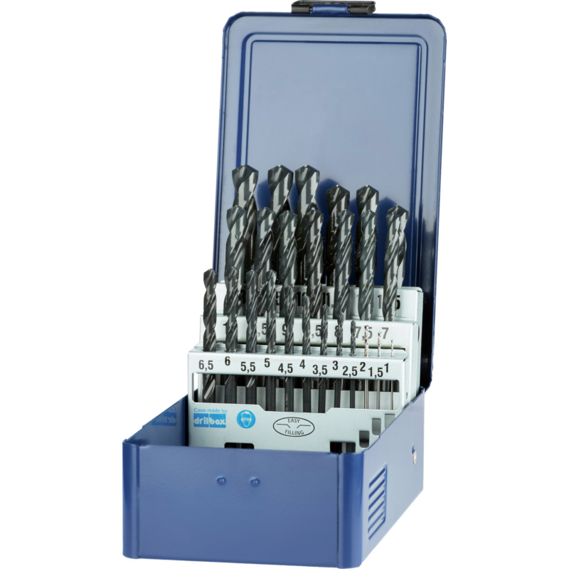 ATORN twist drill set N HSS DIN 338 D 1.0-13.0mm with 0.5 incr. in box - Twist drill set in box, type N, HSS 5xD, steam-treated