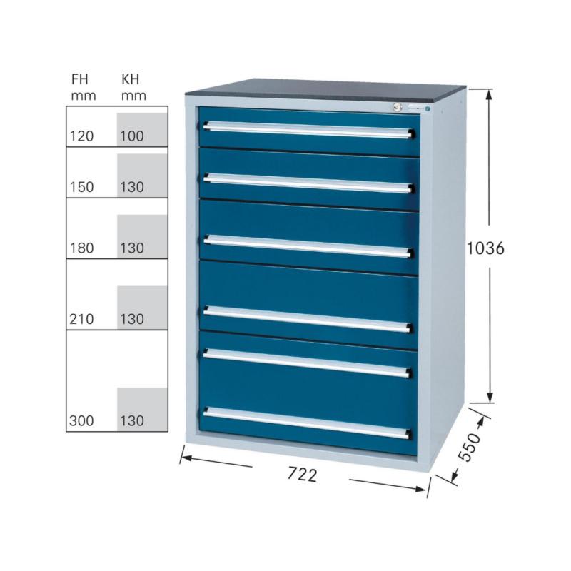 schubladenschrank system 550 s mit 5 soft close schubladen hahn kolb werkzeuge gmbh. Black Bedroom Furniture Sets. Home Design Ideas