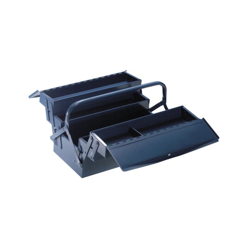 ATORN Werkzeugkasten 3-teilig 430x200x150 mm Hammerschlag blau - Werkzeugkasten