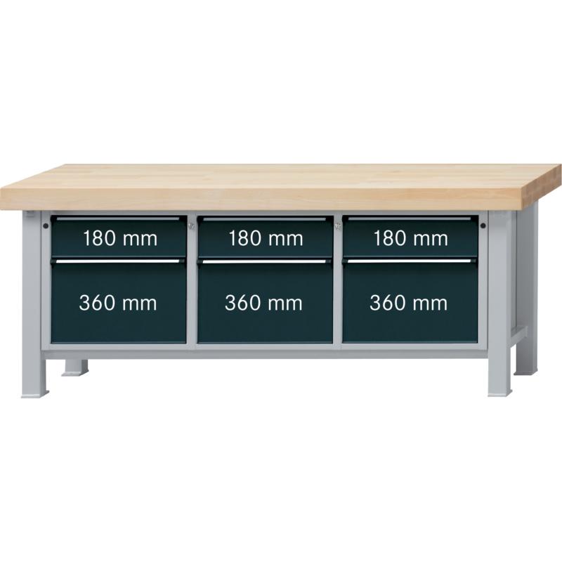 ANKE Werkbank Modell 223 VS Platte Buche-Massiv, 100 mm 2250x800x900 ...