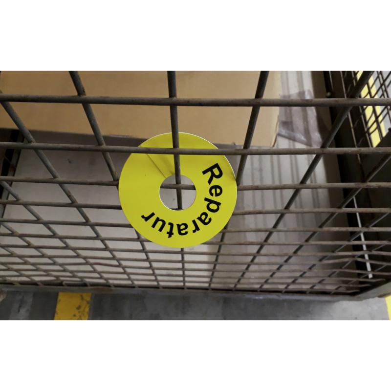 "Rundsignal / Beschriftungsring für Gitterboxen, gelb ""Reparatur"" - Betriebseinrichtung"