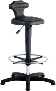 Arbeitshocker und Stehhilfe mit Rollen oder Gleitern - BIMOS Stehhilfe mit Gleiter und Fußring mit SoftTouch PU-Schaum