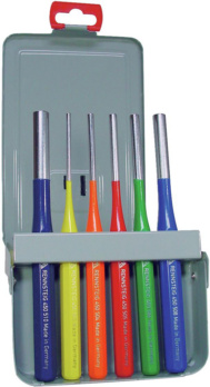 Splinttreiber-Satz - Splinttreibersatz 6-teilig, bunt pulverbeschichtet in Blech-Klappkassette