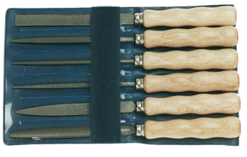 Jeu de limes à clé - DICK precision key file set, 6-piece, 100 mm, cut 2, with wooden handle