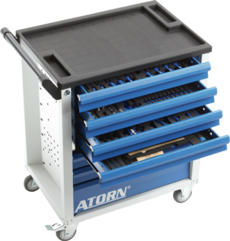 ATORN tool trolley, RAL 7035/5010, 7 fully-extending drawers, 7 hard foam ins. - ATORN tool trolley, RAL 7035/5010, 7 fully-extending drawers, 7 hard foam ins.