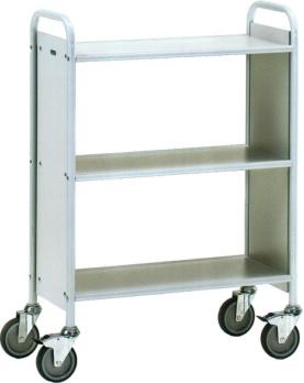 Bürowagen mit 3 Ladeflächen aus Holz - Bürowagen 4870 Ladefläche 720x350 mm - grau - 150 kg, mit 3 Böden