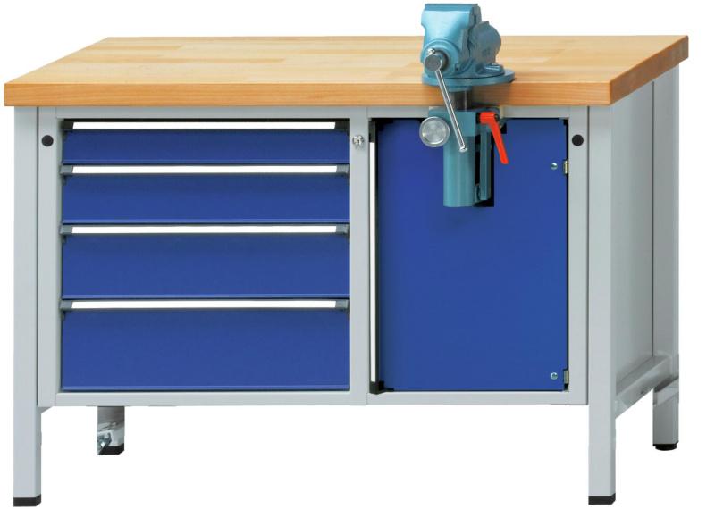 anke montagewerkbank 707 v fahrbar platte buche massiv lxtxh 1270x700x850 mm 50284837 hahn kolb. Black Bedroom Furniture Sets. Home Design Ideas