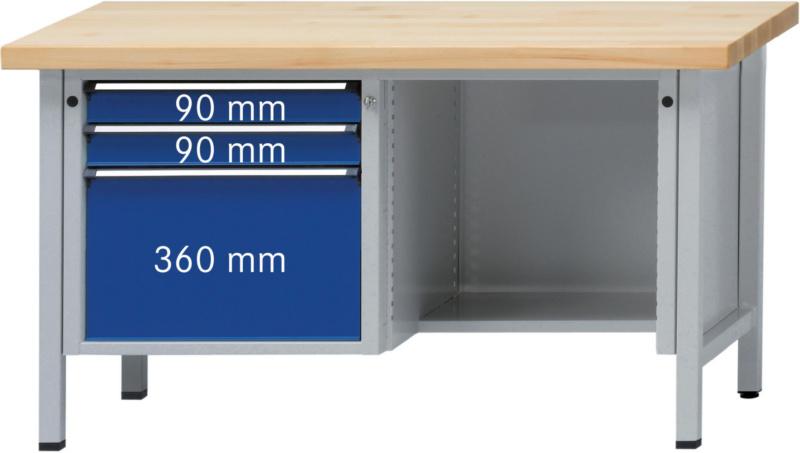 ANKE Werkbank Modell 410 V 1500x700x900 mm Platte Zinkblechbelag ...