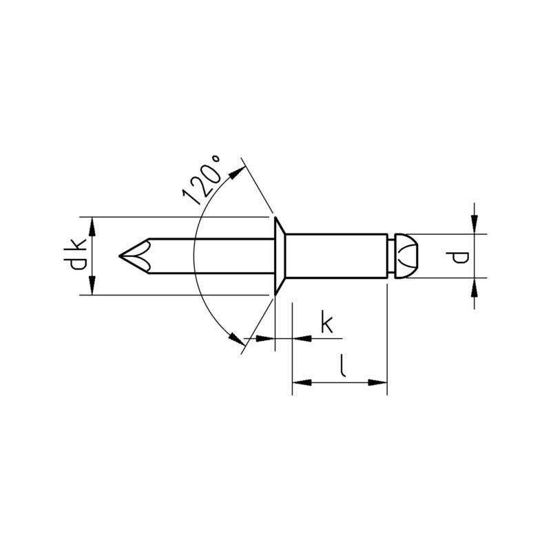Buy Countersunk-head blind rivet, aluminium/steel (0938 5 12) online