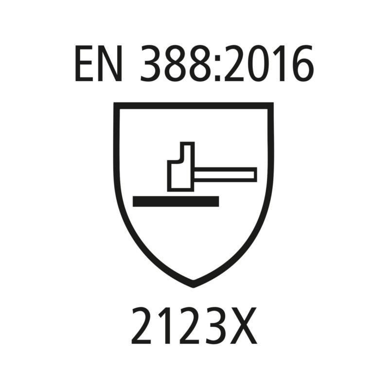 Arbeitshandschuhe Rindvollleder - Arbeitshandschuhe EN 388 Kat.II aus Rindvollleder, mit Stulpe, EN 388:2016 Level 2123X Gr. 10