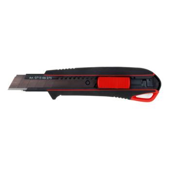 2K-Cutter-Messer mit Schieber  Besonders rutschfest und ergonomisch durch hochwertigen 2 Komponenten-Griff und automatischer Klingenarretierung