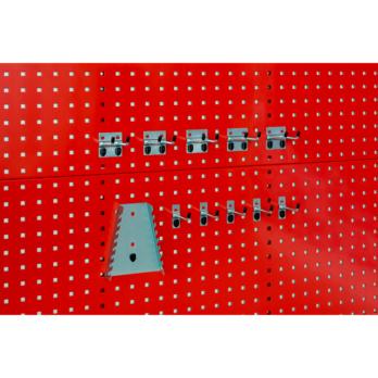 Halterset 1, 11-teilig 5x Haken 75 mm; 5x Doppelhaken 75 mm; 1x Schraubenschlüsselhalter