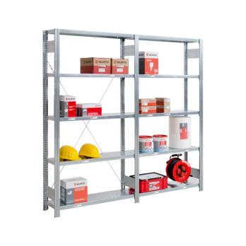 Steckregal Basic mit 5 Stahlfachböden für mittlere Belastungen