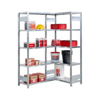 Steckregal Ecke mit 10 Stahlfachböden für mittlere Belastungen und optimale Raumausnutzung
