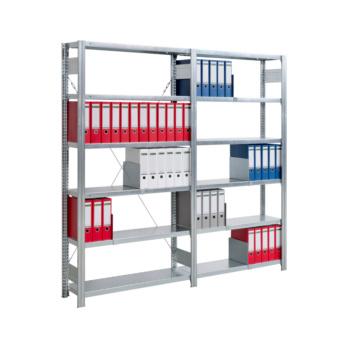 Büro-Steckregal mit 6 Stahlfachböden zur übersichtlichen und platzsparenden Lagerung von Ordnern und weiterem Büromaterial