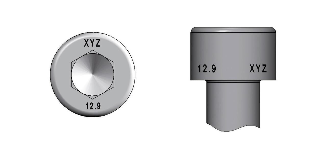 Kennzeichnung von Zylinderkopfschrauben